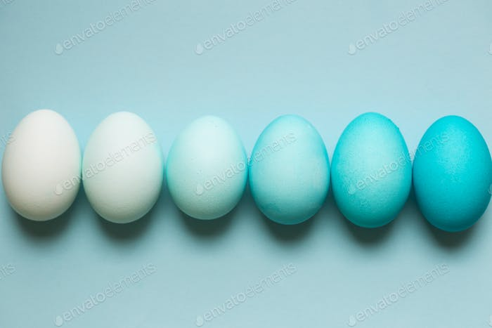 Row of ombre Easter eggs