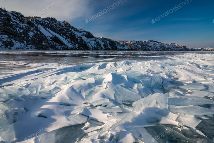 Winter on Lake Baikal, Russia. Winter ice landscape.