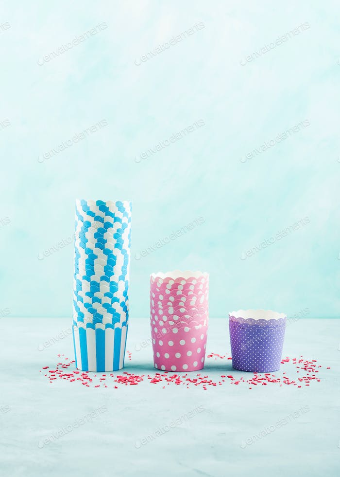 Colorful pastel paper cases for baking cup cakes