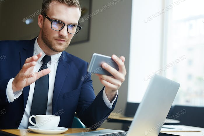 Businessman with gadgets