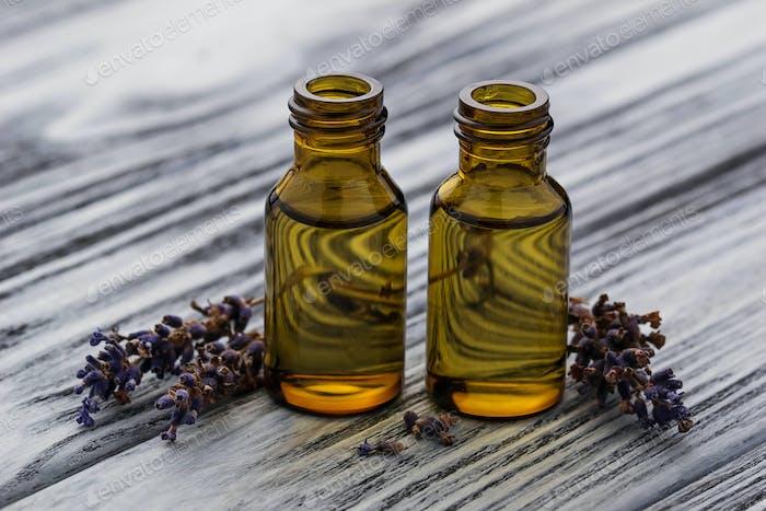Lavender oil in glass bottle