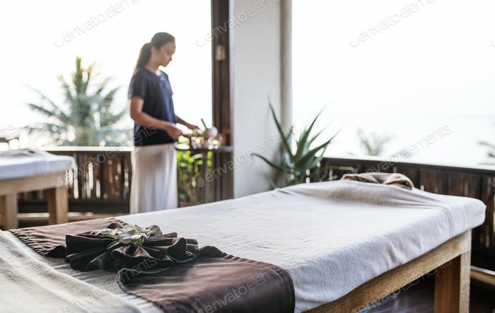 Massage therapist at a spa