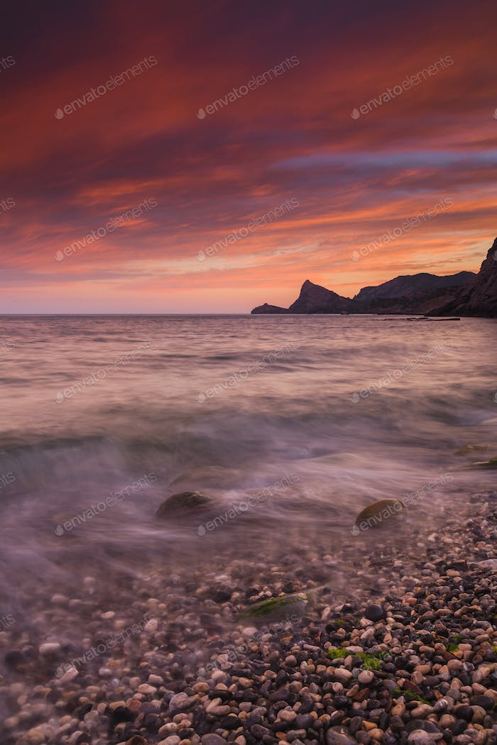 Beautiful sunrise on the beach in the Crimea