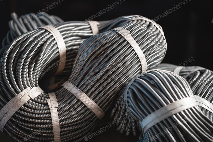 Close-up of a huge bundle of metal flexible tubes