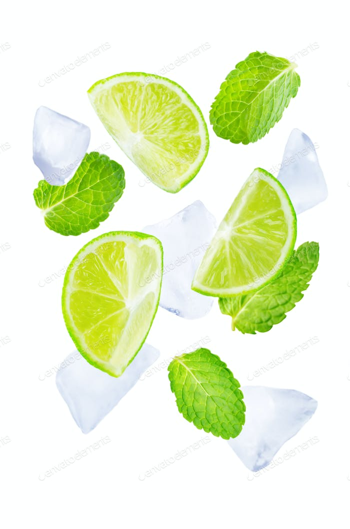 Flying Limes with ices and mint leaves isolated
