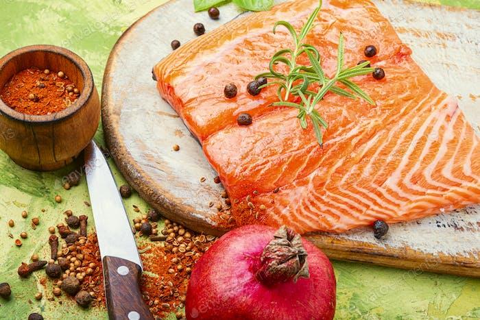 Fresh raw salmon fish