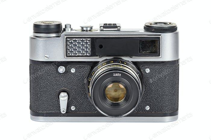 Vintage-analoge Kamera auf weißem Hintergrund
