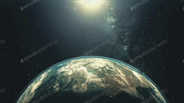 Rotierender Planet der Erde mit Sonnenlicht. Weißer Halo umkreist um hellen Stern im Weltraum mit Sternen