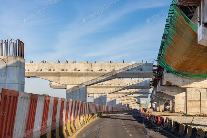 Construction of highway overpass bridge and rail transit infrastructure in progress