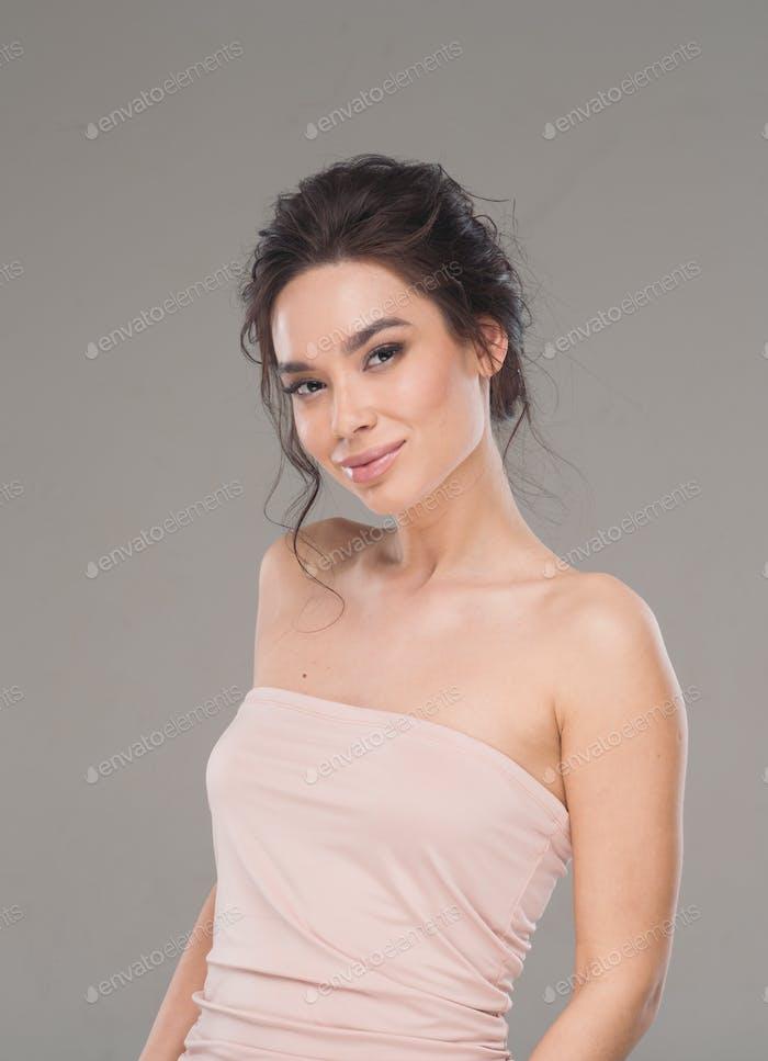 Beautiful asia woman natural make up healthy skin beauty hair