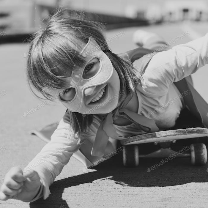 Little Girl Riding Skateboard Concept