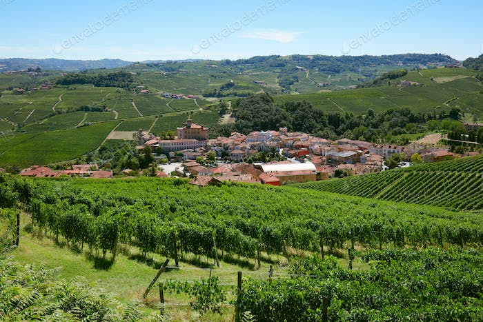 Barolo medieval town in Piedmont with vineyards, Italy