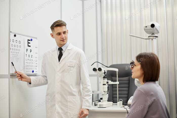 Woman at Eye Test Exam