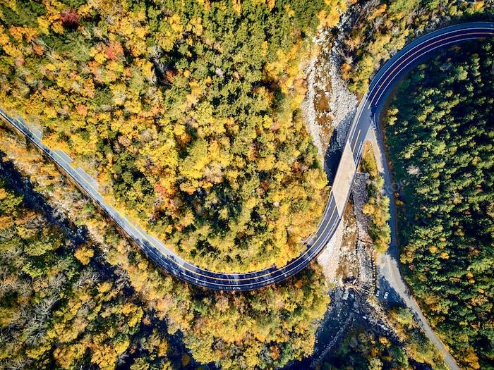 Scenic winding highway in autumn