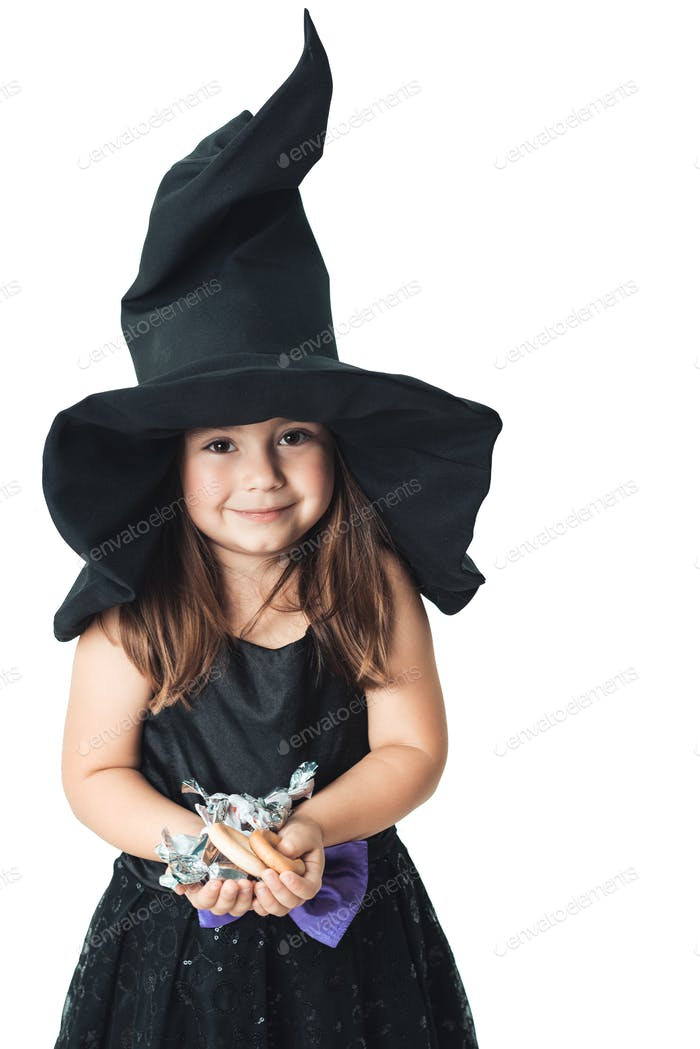 little witch shows the collected candy