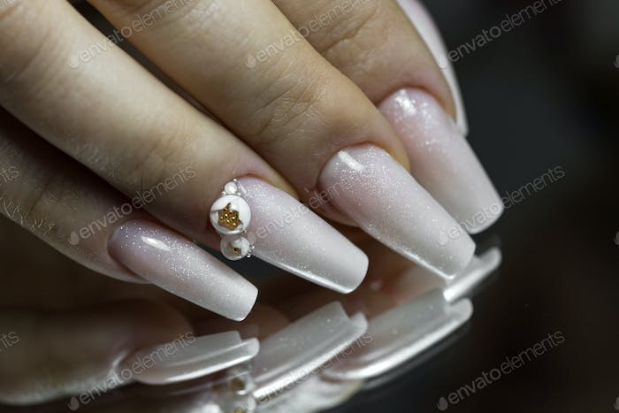 Bride's hands with simple manicure