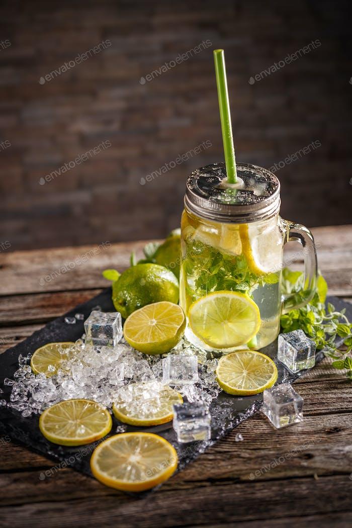 Cold lemonade with mint leaf