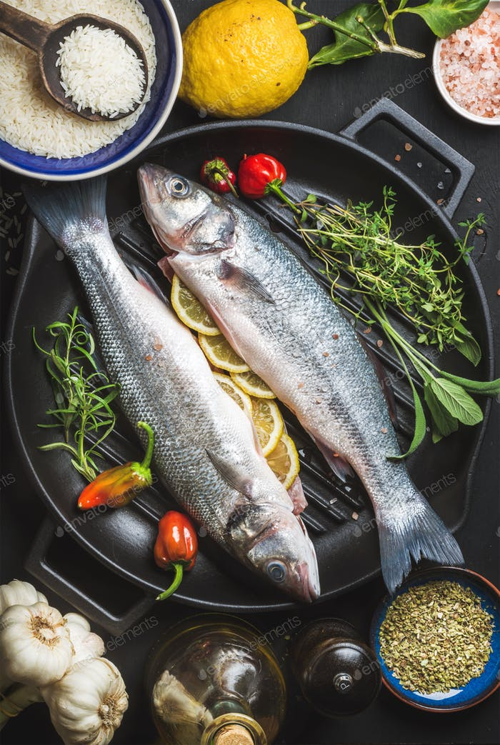Ingredients for cooking healthy fish dinner