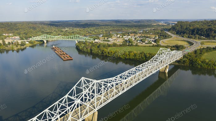 Aerial Perspective Barge Transportation Over Gallipolis Waterfront along the Ohio River
