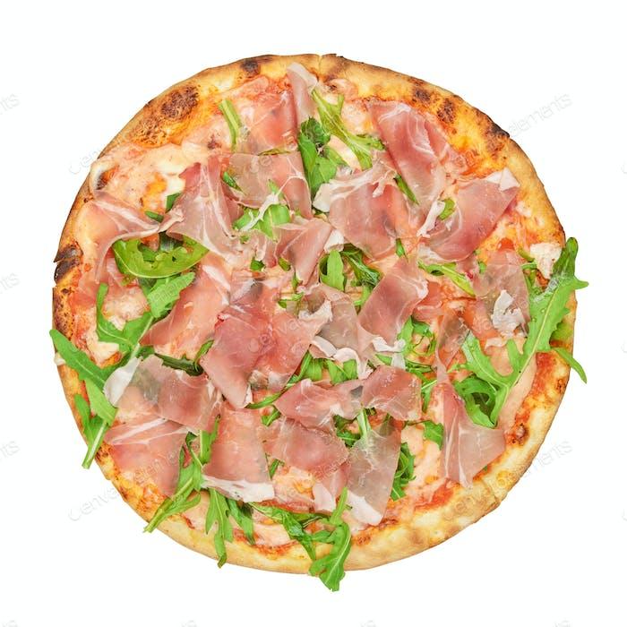 Round italian pizza isolated