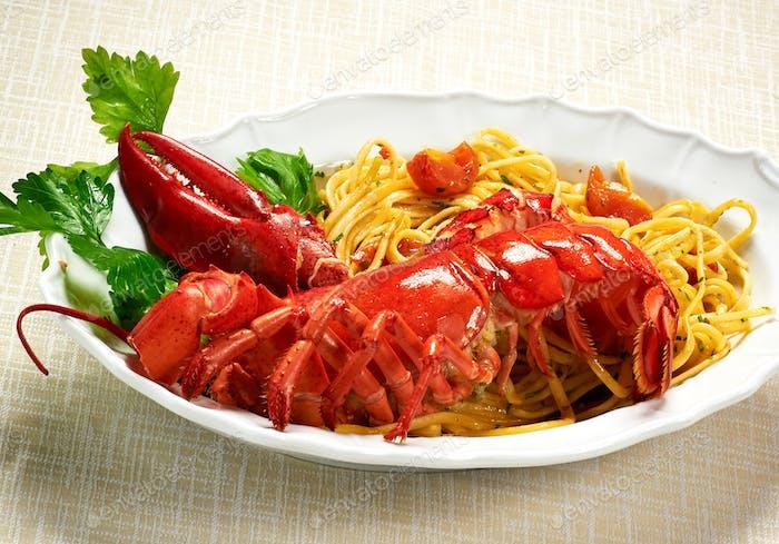 Plate of gourmet lobster linguine copia