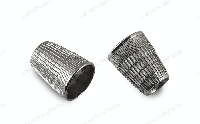 vintage and used silver thimble on white (CLIPPING PATH)