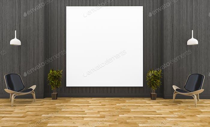 3d rendering huge picture frame in dark wood room with minimal style