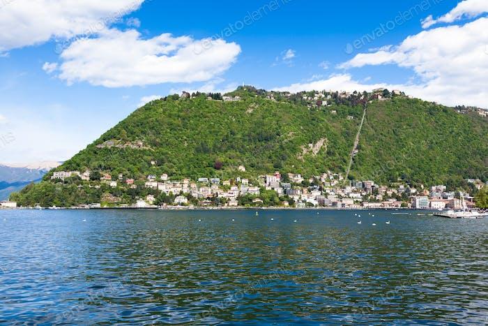 Como city and lake near Milan in Italy