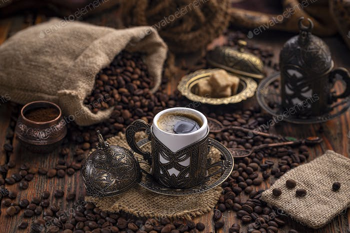 Coffee in metal Turkish traditional cup