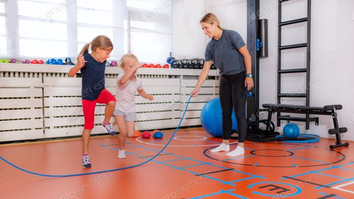 Skipping over rope in a physical activity class