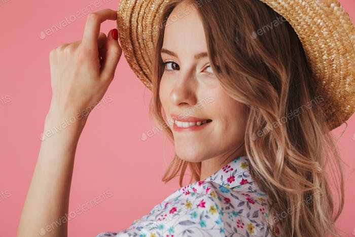 Close up portrait of a happy young woman