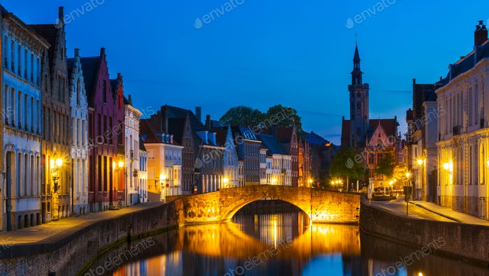 Brügge Nacht Stadtbild, Belgien