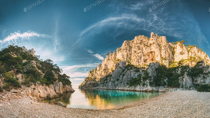 France, Cassis. Panorama Of Calanques On The Azure Coast Of Fran