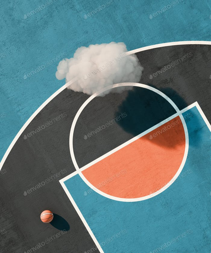 Aerial view basketball court with sunset sun light. Flat design, cloud. 3d illustration