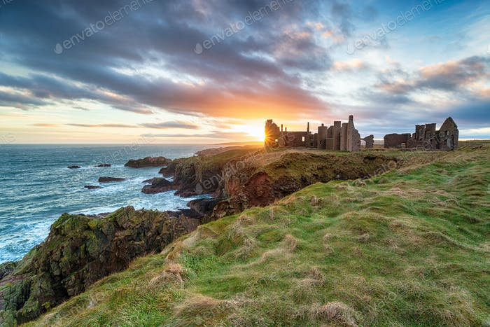 Sunset at Slains Castle