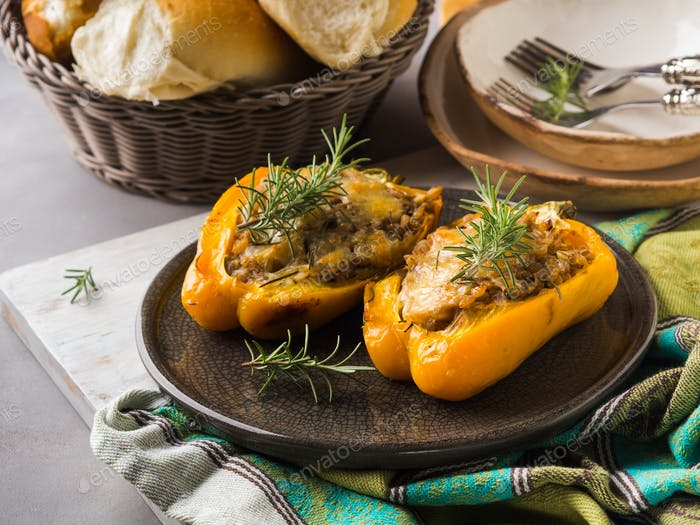 Bell peppers stuffed with barley and meat