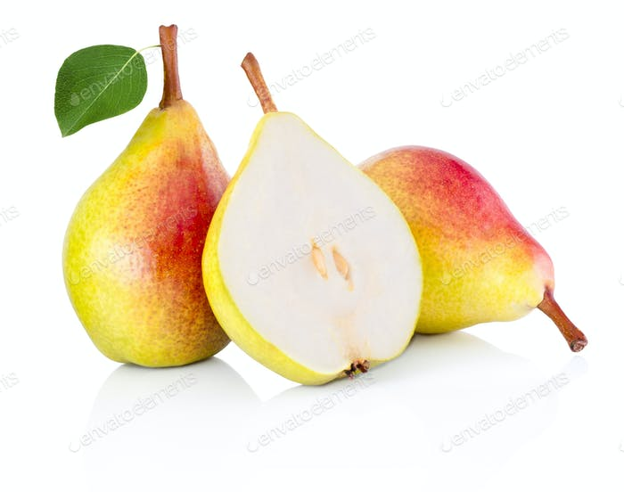 Yellow pears, half and whole with leaf Isolated on white backgro