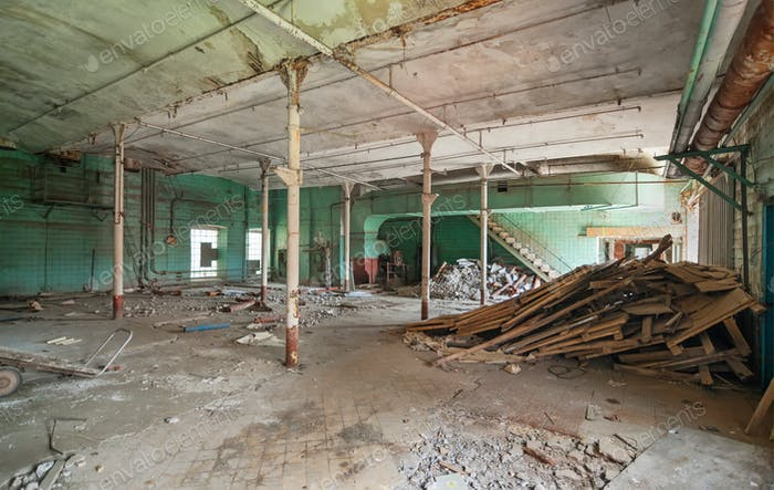 Interior of an abandoned industrial building