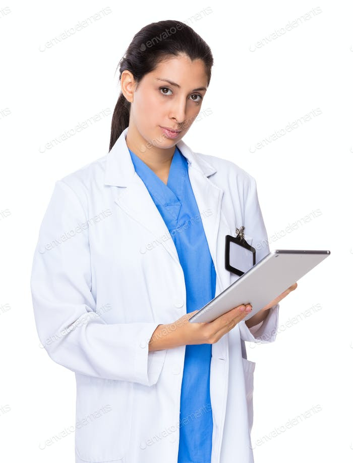 Doctor woman use of the digital tablet
