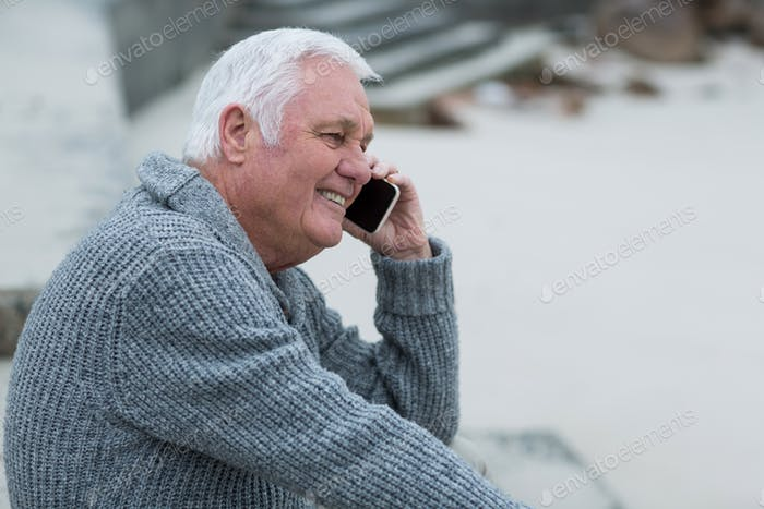 Senior man talking on mobile phone
