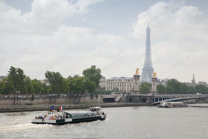 Paris view - Alexander the third bridge over river Seine