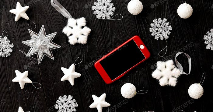 Christmas decorations and smartphone