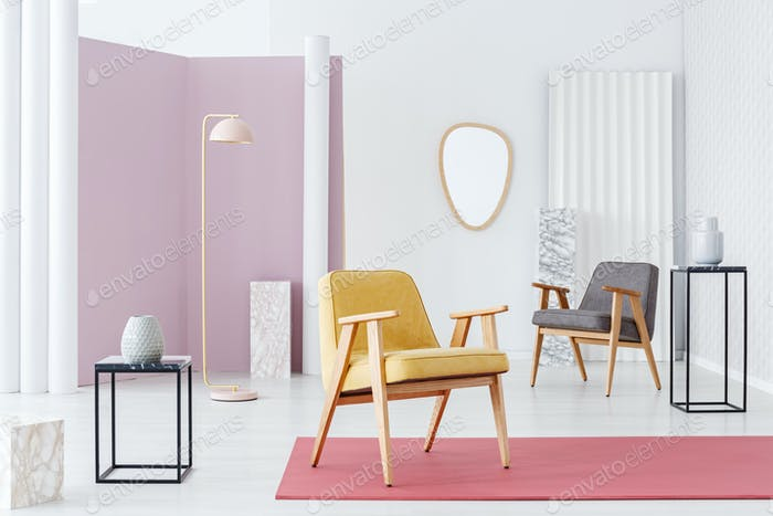 Yellow armchair in living room