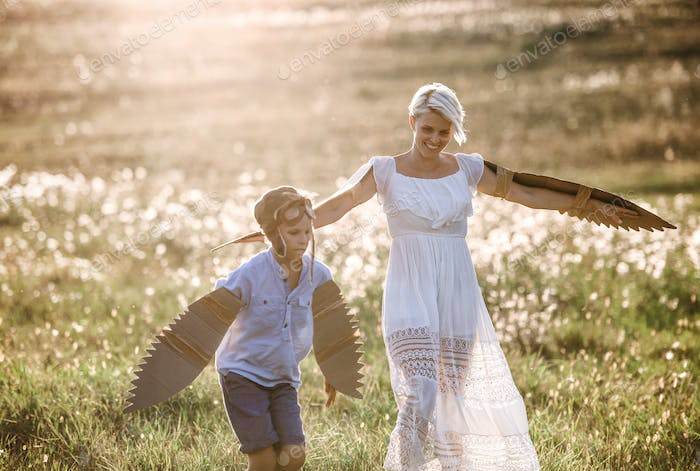 Young mother with small son playing on a meadow in nature.