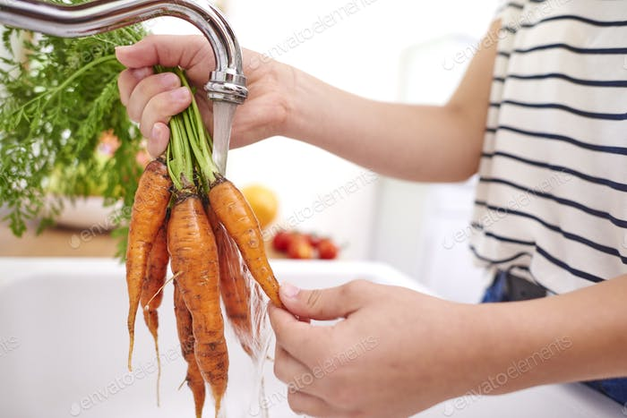 Woman washing fresh and organic carrots