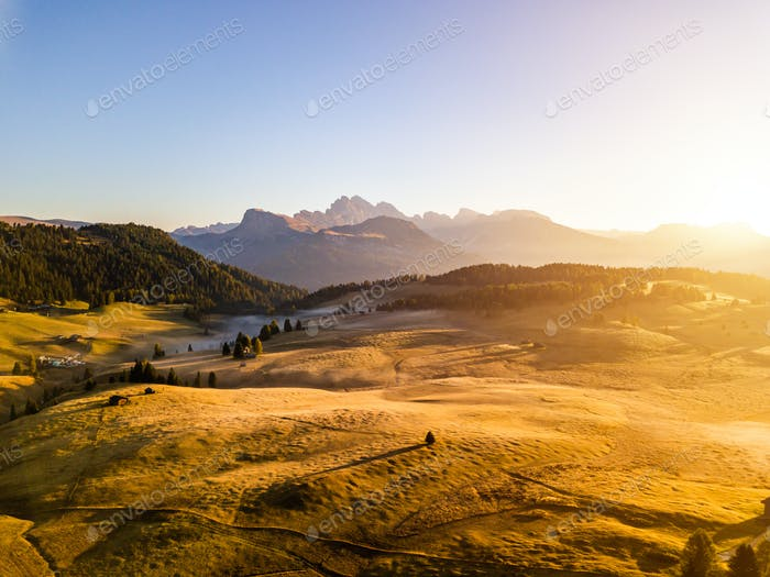 Amazing view of the Alpine mountains. Alpe di Siusi, Dolomites. Italy