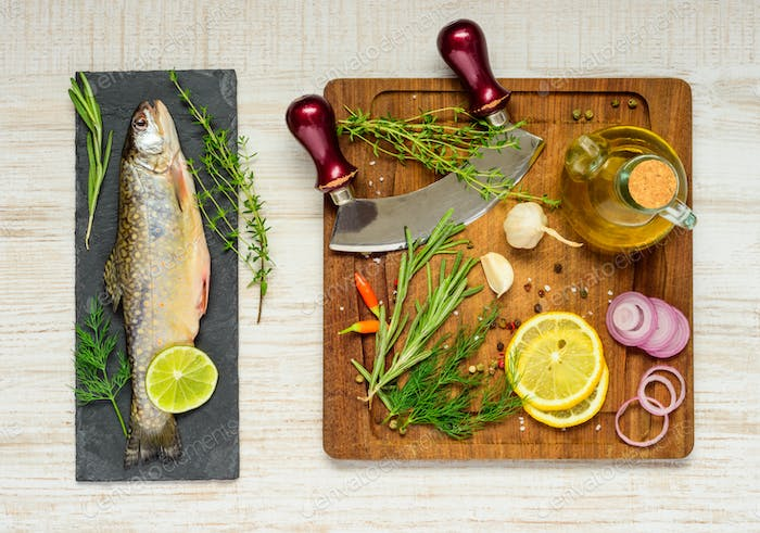 Rainbow Trout with Cooking Ingredients