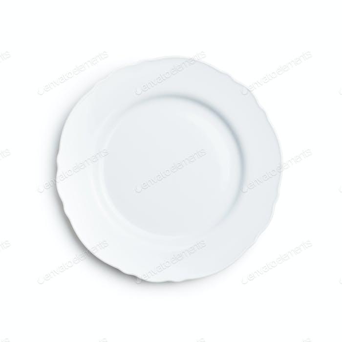 Empty white ceramic plate.