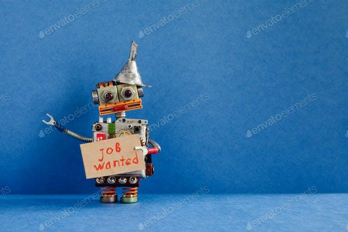 Jobsuche Konzept. Roboter will einen Job bekommen.