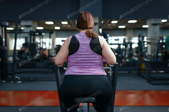 Overweight woman doing exercise in gym, back view